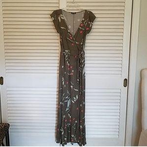 Express Floral Maxi Wrap Dress